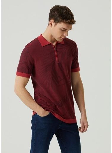Beymen Club 101597389 Polo Yaka Kısa Kol Yakası Fermuar Kapatmalı Yaprak Desenli Pamuk Kiremit Erkek T Shirt Kiremit